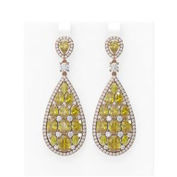 24.01 ctw Canary Citrine & Diamond Earrings 18K Rose Gold - REF-700R2K