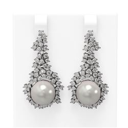 3.26 ctw Diamond & Pearl Earrings 18K White Gold - REF-278W2H