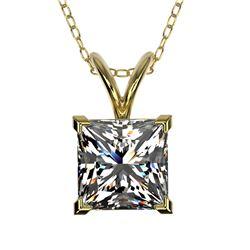1.25 ctw Certified VS/SI Quality Princess Diamond Necklace 10k Yellow Gold - REF-325R2K