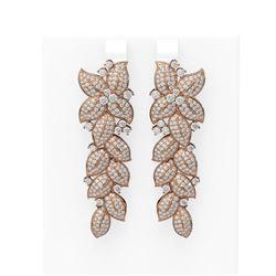 5.38 ctw Diamond Earrings 18K Rose Gold - REF-488Y9X