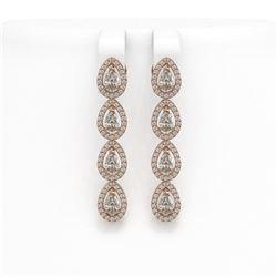 4.52 ctw Pear Cut Diamond Micro Pave Earrings 18K Rose Gold - REF-381W8H