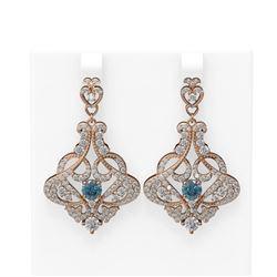5.13 ctw Intense Blue Diamond Earrings 18K Rose Gold - REF-469G6W