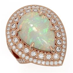 11.19 ctw Certified Opal & Diamond Victorian Ring 14K Rose Gold - REF-333K6Y