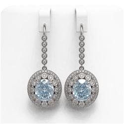 13.62 ctw Aquamarine & Diamond Victorian Earrings 14K White Gold - REF-409X3A