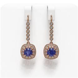 5.1 ctw Certified Sapphire & Diamond Victorian Earrings 14K Rose Gold - REF-172A8N