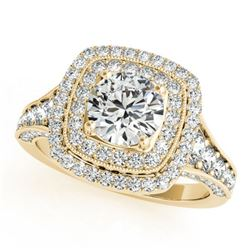2 ctw Certified VS/SI Diamond Halo Ring 18k Yellow Gold - REF-329K9Y