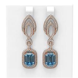 12.08 ctw Blue Topaz & Diamond Earrings 18K Rose Gold - REF-356G4W