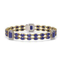 19.49 ctw Sapphire & Diamond Bracelet 14K Yellow Gold - REF-252F8M