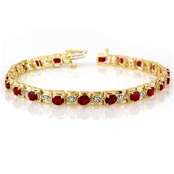 6.09 ctw Ruby & Diamond Bracelet 10k Yellow Gold - REF-94H5R