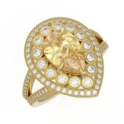 4.12 ctw Canary Citrine & Diamond Victorian Ring 14K Yellow Gold - REF-125F5M