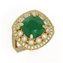 6.47 ctw Certified Emerald & Diamond Victorian Ring 14K Yellow Gold - REF-178F2M