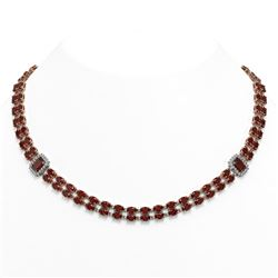 31.95 ctw Garnet & Diamond Necklace 14K Rose Gold - REF-436W4H