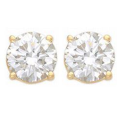 1.0 ctw Certified VS/SI Diamond Stud Earrings 14k Yellow Gold - REF-120A3N
