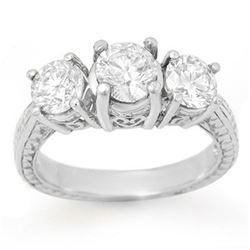 1.50 ctw Certified VS/SI Diamond 3 Stone Ring 14k White Gold - REF-236R5K