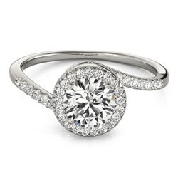 0.75 ctw Certified VS/SI Diamond Bypass Ring 18k White Gold - REF-85W9H