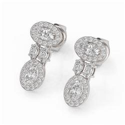 2 ctw Oval & Marquise Cut Diamond Earrings 18K White Gold - REF-226G5W