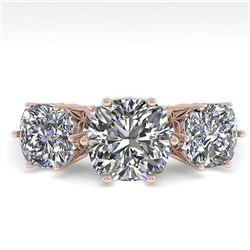 2.0 ctw Past Present Future VS/SI Cushion Diamond Ring 18k Rose Gold - REF-435N2F