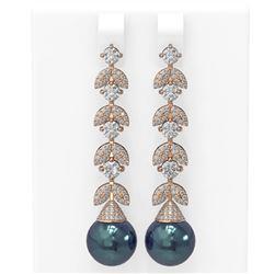 3.32 ctw Diamond & Pearl Earrings 18K Rose Gold - REF-430M8G