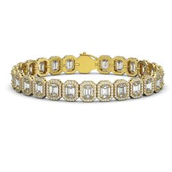 20.25 ctw Emerald Cut Diamond Micro Pave Bracelet 18K Yellow Gold - REF-3213R3K