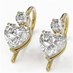 1.25 ctw Heart Diamond Designer Earrings 18K Yellow Gold - REF-229H5R