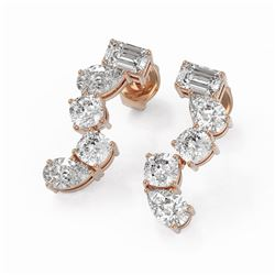 2.7 ctw Mix Cut Diamonds Designer Earrings 18K Rose Gold - REF-375R3K