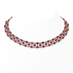 43.07 ctw Ruby & Diamond Necklace 10K Rose Gold - REF-527H3R