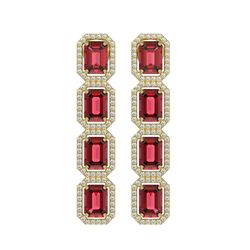 12.41 ctw Tourmaline & Diamond Micro Pave Halo Earrings 10k Yellow Gold - REF-436A4N