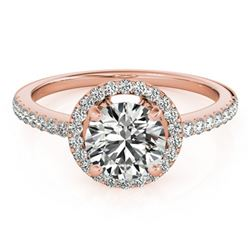 1.4 ctw Certified VS/SI Diamond Halo Ring 18k Rose Gold - REF-296H6R