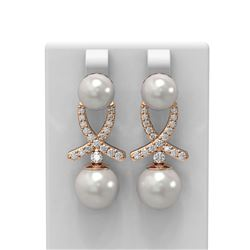 1.3 ctw Pearl & Diamond Earrings 18K Rose Gold - REF-182W8H