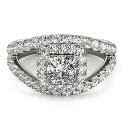 1.85 ctw Certified VS/SI Princess Diamond Halo Ring 18k White Gold - REF-196A2N
