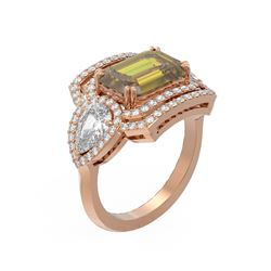 6.87 ctw Canary Citrine & Diamond Ring 18K Rose Gold - REF-451N6F