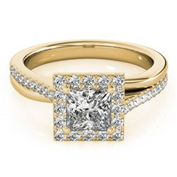 1.25 ctw Certified VS/SI Princess Diamond Halo Ring 18k Yellow Gold - REF-184R3K