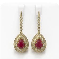 10.15 ctw Certified Ruby & Diamond Victorian Earrings 14K Yellow Gold - REF-279A3N