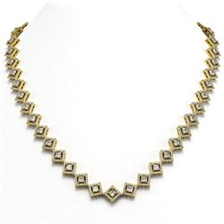 19.27 ctw Princess Cut Diamond Micro Pave Necklace 18K Yellow Gold - REF-1598K3Y