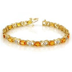 10.15 ctw Yellow Sapphire & Diamond Bracelet 14k Yellow Gold - REF-136Y4X
