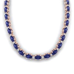 46.5 ctw Tanzanite & VS/SI Diamond Eternity Necklace 10k Rose Gold - REF-439N5F