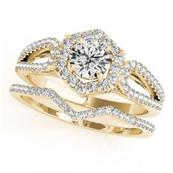 1.60 ctw Certified VS/SI Diamond 2pc Wedding Set Halo 14k Yellow Gold - REF-308G2W