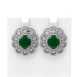 12.21 ctw Emerald & Diamond Earrings 18K White Gold - REF-381A3N