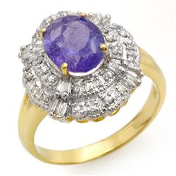 2.70 ctw Tanzanite & Diamond Ring 14k Yellow Gold - REF-90H9R