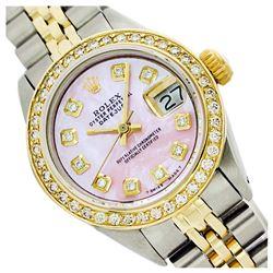 Rolex Ladies Two Tone 14K Gold/SS, Diamond Dial, Diamond Bezel, Sapphire Crystal - REF-434N7A