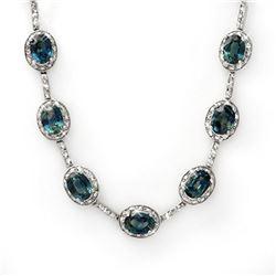 31.0 ctw Blue Sapphire & Diamond Necklace 10k White Gold - REF-207N8F