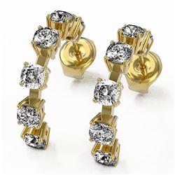 4 ctw Cushion Cut Diamond Designer Earrings 18K Yellow Gold - REF-455N3F