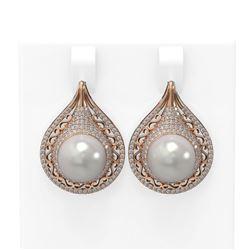 2 ctw Diamond & Pearl Earrings 18K Rose Gold - REF-235N5F