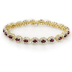 10.80 ctw Ruby & Diamond Bracelet 14k Yellow Gold - REF-345R5K