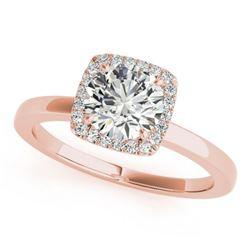 0.9 ctw Certified VS/SI Diamond Halo Ring 18k Rose Gold - REF-149K9Y