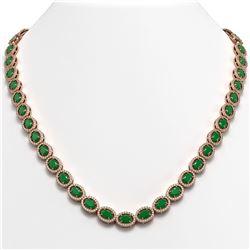 34.11 ctw Emerald & Diamond Micro Pave Halo Necklace 10k Rose Gold - REF-709W3H