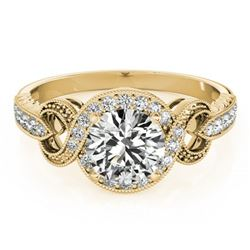 0.8 ctw Certified VS/SI Diamond Halo Ring 18k Yellow Gold - REF-94Y2X