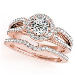 0.96 ctw Certified VS/SI Diamond 2pc Wedding Set Halo 14k Rose Gold - REF-79G2W