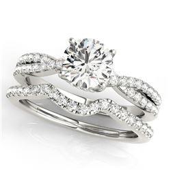 1.45 ctw Certified VS/SI Diamond 2pc Wedding Set 14k White Gold - REF-293K9Y