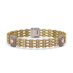 26.13 ctw Morganite & Diamond Bracelet 14K Yellow Gold - REF-472H8R